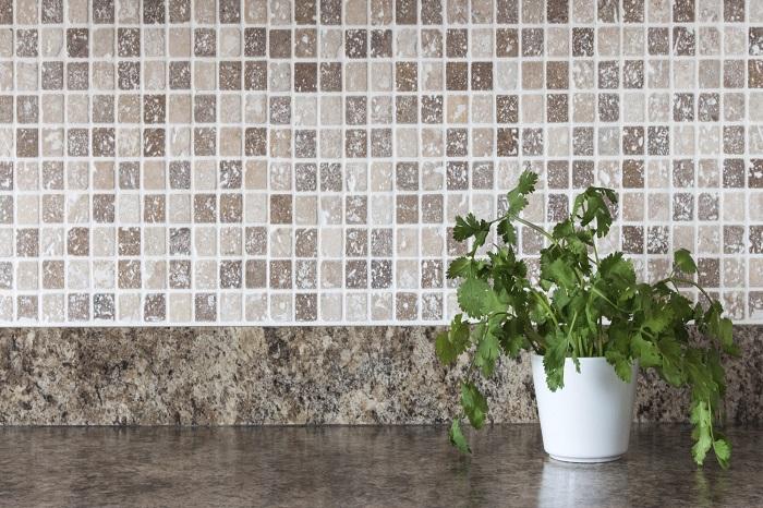 Green herbs on kitchen Stone Art and Stone Flooring